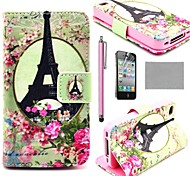 COCO FUN® K10 Rose Eiffel Tower Pattern Wallet PU Leather Cases With Stand For iPhone 4S Included Film And Stylus