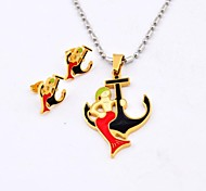 Fashion Red  Mermaid Anchor Titanium Steel  Necklaces and Earrings Jewelry Sets