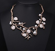 Women's Vintage Branches Jewels Pearl Diamond Necklace