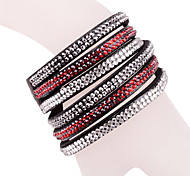 Multilayer Black Rhinestone Leather Bracelet