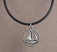aço inoxidável moda colar de pingente de barco à vela