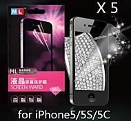diamante protector de pantalla anti-radiación para iphone5/5s/5c (5 x)