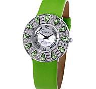 Time100 Women Round Dial Leather Strap Teardrop-shaped Shine Diamond Shell Romantic Quartz Watch