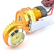 Motorcycle HandleBar Cell Phone Waterproof USB Car Charger Power Adapter with Watch-Gold