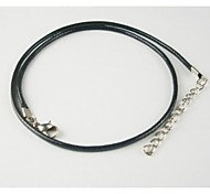 Black Leather Cord Necklace Chain