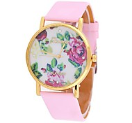Coway Women Round Golden Dial Pink Leather Band Quartz Analog Wrist Watch(Assorted Color)