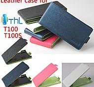 2014 venda quente 100% pu couro caso tampa de couro esquerda para a direita para thl100s smartphones de 4 cores