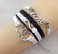 Vintage Double Heart LOVE8 18cm Unisex  Leather Wrap Bracelet(1 Pc)