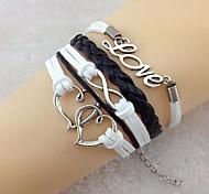 coração dobro do vintage love8 18 centímetros unissex pulseira de couro wrap (1 pc)