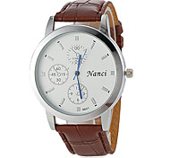 Couple's Simple Round Dial PU Band Quartz Analog Casual Watch (Assorted Colors)