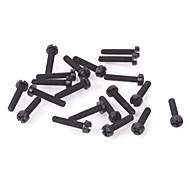 ZnDiy-BRY R205-318 DIY 18 x 3mm Nylon Screws - Black (20PCS)