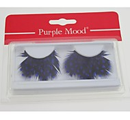1 Pair Pro High Quality Hand Made Blue Dot Black Color Feather False Eyelashes CFE407#