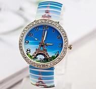 ferro personalidade da moda pulseira de torre de relógio das mulheres