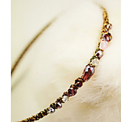 Color Blocking Super Flash Colorful Irregular Crystal Gold Cord Hoop Beaded Headband Random Delivery
