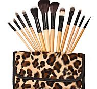 12 Makeup Brushes Set Goat Hair / Pony / Horse Wood Face / Lip / Eye Others