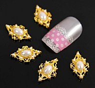 10pcs    Golden Rhombus Pearl For Finger Tips Accessories Nail Art Decoration