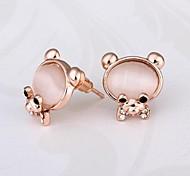 mode ours belle rose 18 carats en or rose boucles d'oreilles en plaqué or goujon (rose) (1 paire)