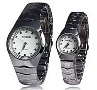 Aleación de plata banda de cuarzo reloj de pulsera de Pareja