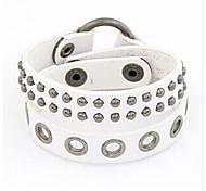 le punk rivets 26cm bracelet en cuir d'emballage (blanc, noir, brun) (1 pc)