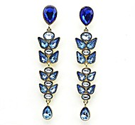 Pretty Leaf Shape Water Drop Alloy Earrings (Blue) (1 Pair)