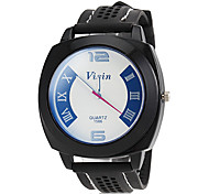 Men's Sporty Dial Black Silicone Band Wrist Watch (Assorted Colors)