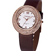Time100 Women Round Dial Satin Strap Chinoiserie Rhinestone Japanese Quartz Dress Watch