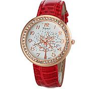 Frauen Strass runde Zifferblatt PU-Band-Quarz-Analog beiläufige Uhr (farbig sortiert)