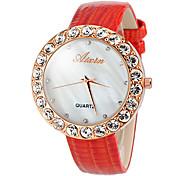 orologio elegante diamante quadrante bianco fascia di cuoio del quarzo del polso delle donne (colori assortiti)