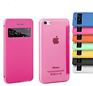 Screen Window PU Leather Full Body Case for iPhone 5C