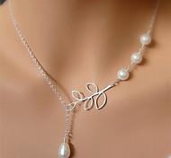 shixin® vintage vier Perlen Blattform Anhänger Halskette (1 PC)