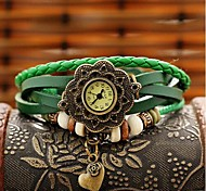 Lady Retro Heart Leather Quartz Movement Watch Assorted Colors