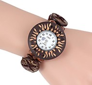 Women's Round-Shaped Wooden Printing Bracelet Watch (1Pc)