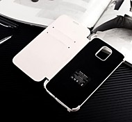 4200mAh Backup Battery Leather Flip Cover for Samsung Galaxy S5/ Card Slots & Stand(White)