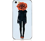 Rose Image Pattern Black Frame Back Case for iPhone 4/4S
