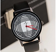 Men's Fashion Contracted Black White Arc Line  Belt Watch