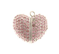 ZP 64GB Pink Heart-Shape Crystal Pattern Bling Diamond Metal Style USB Flash Drive