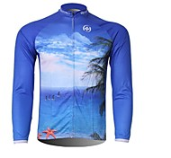 XINTOWN Men 's Sea Breathable Polyester Long Sleeve Cycling Jersey—Blue