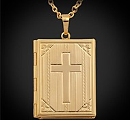 U7® Vintage Cross Bible Photo Locket Pendant Floating Lockets 18K Gold Platinum Plated Necklace For Men Women