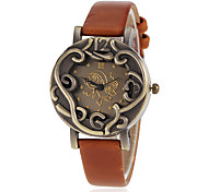 Women's Bronze Case PU Band Quartz Wrist Watch (Assorted Colors)