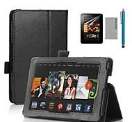 """coco Fun® conception de livre étui en cuir noir PU avec protecteur d'écran et un stylet pour 7 """"hdx de feu Kindle d'Amazon"""