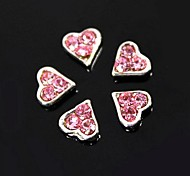 10pcs    Pink Rhinestone Heart For Finger Tips Jewelry Accessories Nail Art Decoration