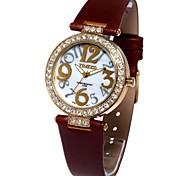 Time100 Women Luxury Round Dial PU Strap Diamond Leisure Rhinestone Ladies' Quartz Watch
