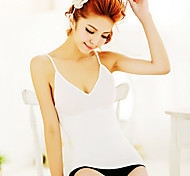 Women'S Ultra Wireless Elastic Sexy V-Neck Waist Sexy Slim Basic Shoulder Strap Low-Cut Vest White NY004