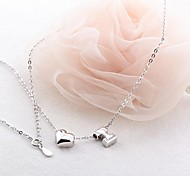 Classic Plum Shaped 925 Silver Plated Platinum Necklace (1 Pc)