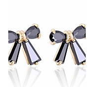 Women New Style Black Bowknot Design Inlaid Zircon Stud Earrings