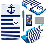 COCO FUN® Navy Blue Anchor Pattern PU Leather Case with Screen Protector, Stylus and Stand for Nokia Lumia N520