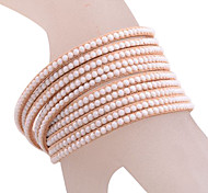 Multilayer Layer Rhinestone Leather Bracelet