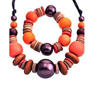 Lureme®National Style Vintage Big Wooden Bead Necklace and Bracelet Suit