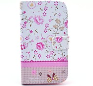 For Samsung Galaxy Case Wallet / Card Holder / with Stand / Flip / Pattern Case Full Body Case Flower PU Leather Samsung Grand