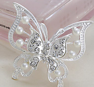 Fashion New Style Euramerican Butterfly Shape Silver Alloy Rhinestone Brooches(1 Pc)
